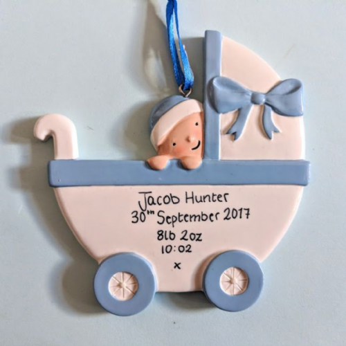 Personalised Baby in a Pram - Blue